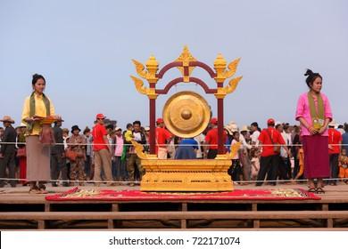 Siem Reap, Cambodia, 2017: Bell at Angkor Wat during Khmer New Year, Angkor Sangkran.
