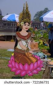 Siem Reap, Cambodia, 2017: Khmer god of Khmer new year at Angkor Wat, Angkor Sangkran