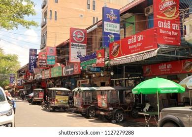 SIEM REAP, CAMBODIA. 2018 Jun 21th. Street View of Phnom Penh.