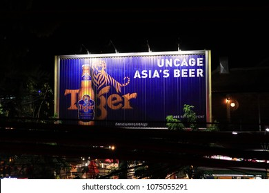SIEM REAP, CAMBODIA. 2018 MAR 7TH.A Signboard of Tiger Beer, is famous Beer Brand from Singapore.