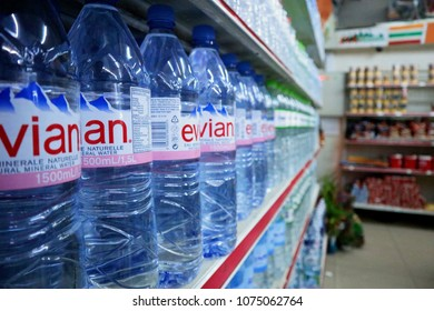 SIEM REAP, CAMBODIA. 2018 MAR 7TH. Evian Water Bottles stock in Shelves At Supermarket.