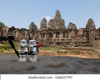 Siem Reap, Cambodia - 30 Mar 2019: Lego Stormtroopers taking a selfie in front of UNESCO world heritage temple.