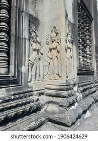 Siem Reap, Cambodia - 31 January 2021: Wonderful Apsara artistic at Angkor Wat. The world heritage of Khmer Empire.