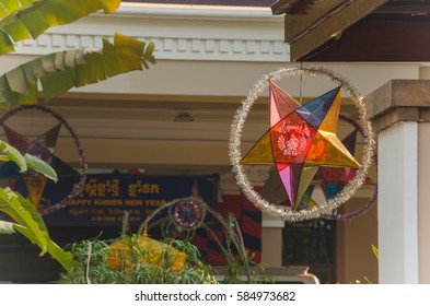 Siem reap, Cambodia - Apr 14, 2016 - A star lantern is a symbol of Cambodia (kmher) new year festival