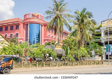 Siem Reap, Cambodia - April 12, 2018:  Boulevard Sivutha with National Bank of Cambodia to the left and Terrasse des Elefants Hotel and Restaurant