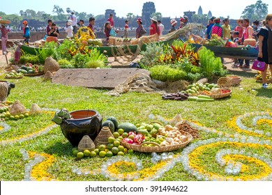 SIEM REAP, CAMBODIA - APRIL 2015: Khmer New Year decoration in front of Angkor Wat, Siem Reap, Cambodia is the most visited place.