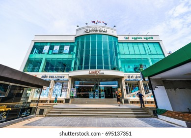 SIEM REAP, CAMBODIA - AUG 05, 2017. Lucky Mall, the biggest shopping mall in downtown of Siem Reap.