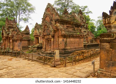 Siem Reap, Cambodia - August 09, 2008: Ruin of the Banteay Srei  temple in Siem Reap, Cambodia.