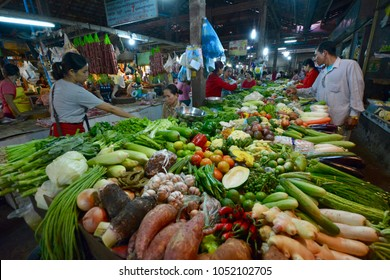 Siem Reap, Cambodia - August 21, 2016: Vegetable stall in Psar Chaa Market (Old Market)