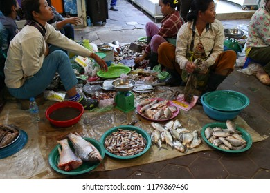 Siem Reap, Cambodia - August 26, 2018 : Women Selling Fish At Cambodia Siem Reap Old Market
