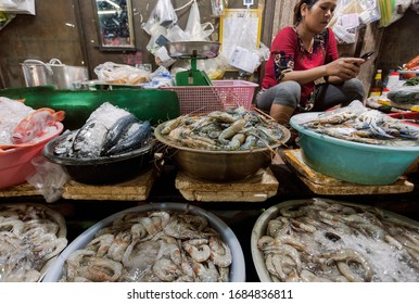 SIEM REAP, CAMBODIA: Choice of shrimps, seafood, crabs, fish for customers of an asian foo market in old town on January 30, 2020. Half of population in Siem Reap works in tourism industry