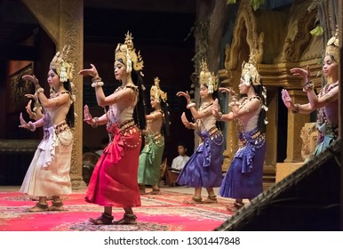 Siem Reap, Cambodia : December-16-2018 : Apsara Khmer dance depicting the Ramayana epic in Siem Reap, Cambodia. Apsaras represent an important motif in the stone bas-reliefs of the Angkorian temples.
