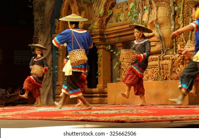 SIEM REAP, CAMBODIA - FEB 14, 2015 - Traditional Cambodian basket dance from rural village, Banteay Srei Cambodia