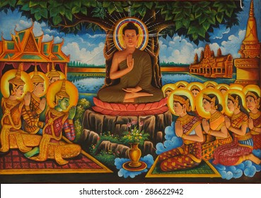 SIEM REAP, CAMBODIA - FEB 16, 2015 - Life of the Buddha painting in  Wat Damnak monastery in Siem Reap,  Cambodia