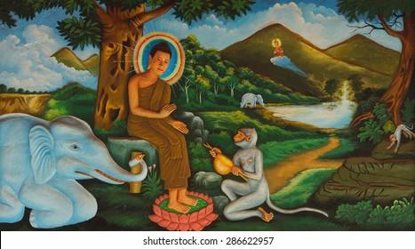 SIEM REAP, CAMBODIA - FEB 16, 2015 - Life of the Buddha painting in  Wat Damnak monastery in Siem Reap,  Cambodia