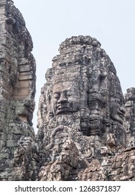 Siem Reap, Cambodia - February 18, 2018: Temple of Angkor Wat decorated by big king's faces. At Siem Reap
