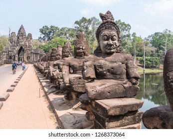 Siem Reap, Cambodia - February 18, 2018: The railing is formed by Khmer Men. At Angkor Wat, Siem Reap, Cambodia.