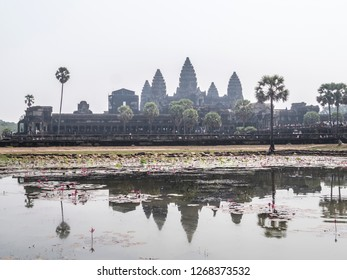 Siem Reap, Cambodia - February 18, 2018: Angkor Wat in all it's Greatness, sublimity and majesty. At Siem Reap, Cambodia.