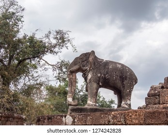 Siem Reap, Cambodia - February 19, 2018:A statue of an elephant in the ruins of Angkor Wat, at Siem Reap, Cambodia
