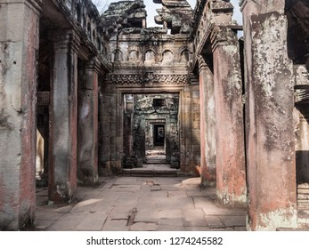 Siem Reap, Cambodia - February 19, 2018:view into one of the temples of Angkor Wat, at Siem Reap, Cambodia