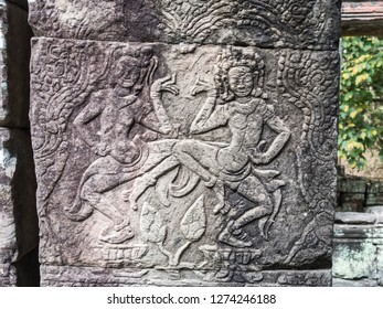 Siem Reap, Cambodia - February 19, 2018:Apsaras - goddesses - decorate the walls of Angkor Wat, at Siem Reap, Cambodia.