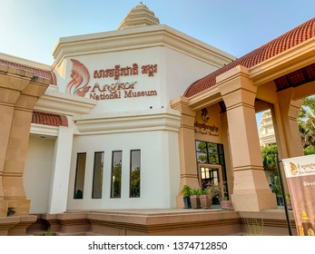Siem Reap, Cambodia - February 27, 2019 :  Sign over entrance of Angkor National Museum in Siem Reap, Cambodia.