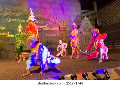SIEM REAP, CAMBODIA - FEBRUARY 6,2015 : A traditional Khmer Cambodian dance depicting the ramayana epic on FEBRUARY 6,2015 in Siem Reap, Cambodia