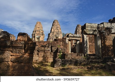 Siem reap, Cambodia. - JAN 01:2017.Stone lion sculpture at Pre Rup is a temple at Angkor built by Rajendravarman II.It is a temple mountain of combined brick.