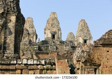 SIEM REAP, CAMBODIA - JANUARY 3 Ruins in Angkor on January 3, 2014 near Siem Reap, Cambodia. Ankor was the ancient capital of Cambodia.