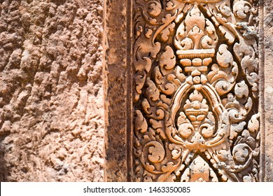 SIEM REAP, CAMBODIA -July 12, 2019: Beautiful stone carving on the columns and pilasters of Banteay Srei, a 10th-century Hindu temple
