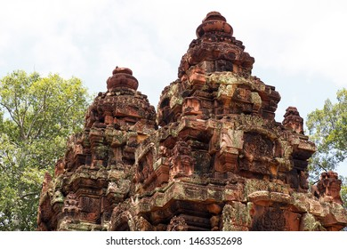 SIEM REAP, CAMBODIA -July 12, 2019: Beautiful architecture of Banteay Srei, a 10th-century Cambodian temple dedicated to the Hindu god Shiva