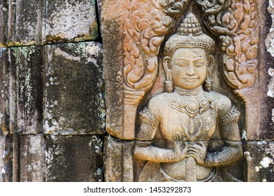 Siem Reap, Cambodia- July 12,2019: A beautiful ancient low relief decoration at Banteay Kdei temple ruin
