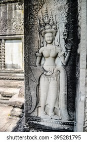 Siem Reap, Cambodia - Jun 7, 2015: Sculptures in Angkor Wat, Cambodia