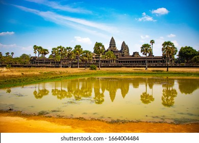 Siem Reap, Cambodia - Mar, 5, 2020: A beautiful view of Angkor Wat temple in the city.