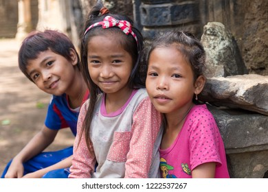 Siem Reap/ Cambodia- November 15 2018: happy smile of cambodian children