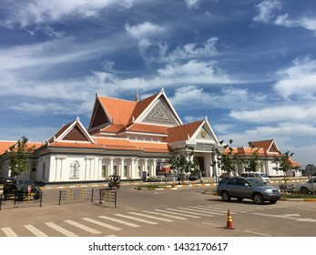 SIEM REAP, CAMBODIA - NOVEMBER 28, 2017: The Angkor Panorama Museum facade. Siem Reap is a gateway to the famous Angkor temples and is a major tourist hub