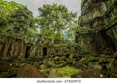 siem reap, cambodia. - oct 24:2014. the ta prohm (prasat taprom) temple or taprohm castle with tree roots area near angkor wat in siem reap , cambodia , 24 october 2014.