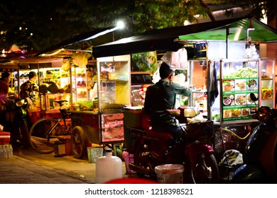 Siem Reap, Cambodia - October 20,2018 : Street food beside the road of night market in Cambodia