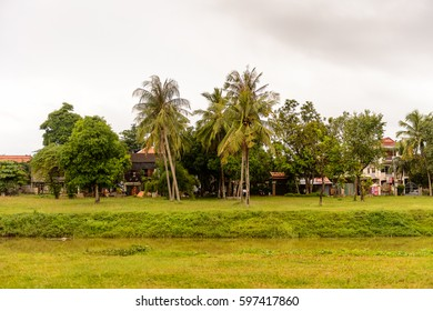 SIEM REAP, CAMBODIA - SEP 28, 2014: Nature and houses in Siemreap region, Cambodia. Siem Reap is the capital city of Siem Reap Province and a popular resort town as the gateway to Angkor region