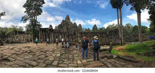 Siem Reap, Cambodia - September, 2018: Bayon Temple panoramic view in Angkor Archaeological Park.