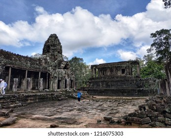 Siem Reap, Cambodia - September, 2018: Bayon Temple is one of the famous ancient structure in Angkor Archaeological Park.