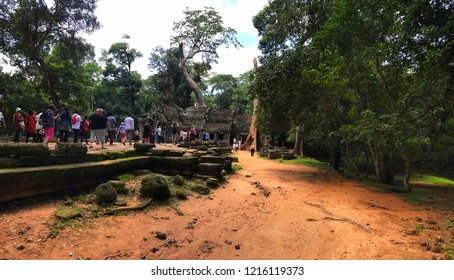 Siem Reap, Cambodia - September, 2018: Ta Prohm surrounding area. This temple is known for huge trees growing out if its wall.