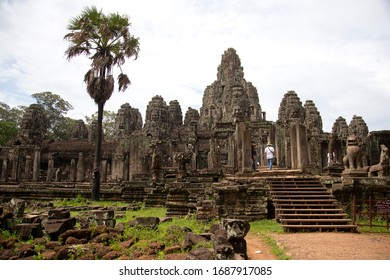 Siem Reap, Cambodia, Southeast Asia. July 22 2018: People in Bayon Temple, complex of Angkor Thom, Cambodia.