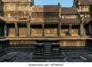 SIEM REAP, CAMBODIA-AUGUST 15, 2017: The tourist visit to see ruins of temple inside the Angkor wat on August 15 at Siem reap, Cambodia