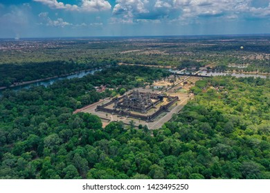 Siem Reap City, Cambodia May 1st, 2019: The renowned world heritage site of Angkor Wat Temples, ariel view shot from DJI drone