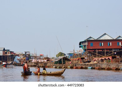 SIEM REAP, COMBODIA - Jan 23, 2014: Transportation by the river at poor men fishing Village at Tonle Sap