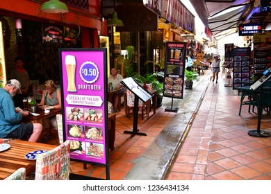 Siem Reap; Kingdom of Cambodia - august 25 2018 : a restaurant in the city centre