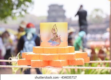 SIEM REAP PROVINCE, CAMBODIA - 15 APRIL 2016: Lantern in from of Angkor Wat during Angkor Sangkran, Khmer New Year 2016