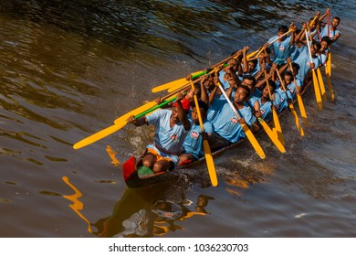Siem Reap, Siem Reap Province, Cambodia - November 24 2015 : Rowing team compete in the boat race to celebrate Bon om Touk Water Festival on the Tonle Sap river in Siem Reap