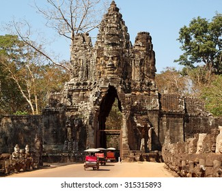 SIEM REAP/CAMBODIA - FEBRUARY 11, 2012: South gate to Angkor Thom, the capital of the ancient Khmer empire.